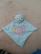 Kids Preferred Teal Aqua Blue Owl Security Blanket Lovey Baby Blanky NWT