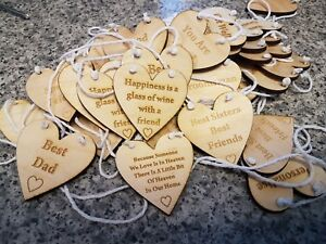 Personalised miniature wooden heart messages gift tags signs keepsakes engraved
