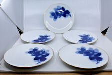 "Okura Toen Blue Rose Porcelain Luncheon Plates Set of 5 Gold Trim 9"" 23cm Japan"