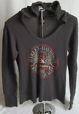 Harley Davidson Womens M Mediu Gray Hooded Long Sleeve Thermal Shirt Eagle