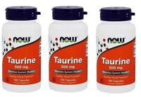 NOW Foods - Taurine 500 mg,100 Capsules - 3 Pack