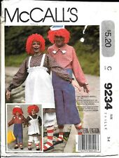 Raggedy Ann Andy Pattern McCalls 9234 Child Size 2 - 4 Halloween Costume Toddler