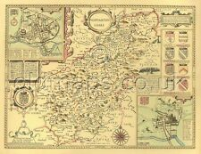 NORTHAMPTONSHIRE Northampton Replica Full Size PRINTED 17c John Speed Old map