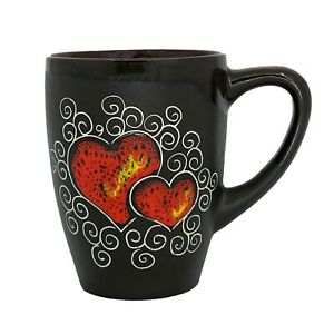 Pottery Handmade Coffee Mug Gift Idea «Red Heart» 13.3 fl oz