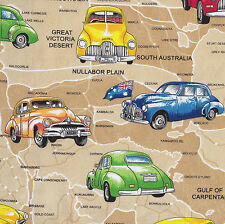 Holden Cars on Beige Australian Map Quilt Fabric Craft Fat Quarter or Metre