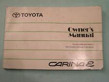 TOYOTA CARINA Series E OWNER'S HANDBOOK for 1996 car