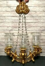 Vintage Homco Gold 3 Arm Candle Wall Sconce Syroco 4002 Hollywood Regency