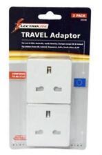 2 x Travel Adaptor Power Plugs For Use UK To USA Australia America Europe