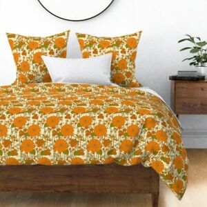 Orange Garden Retro Vintage Floral Seventies Sateen Duvet Cover by Roostery