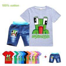 UNSPEAKABLE Tracksuit Youth Children Short Sleeve T-Shirt Tops + Denim Shorts