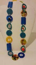 Gorgeous beaded designer blue resin necklace