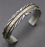 Sterling Silver w/ 14k Gold Indian / Southwestern Artisan Cuff Bangle Signed DL