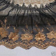 1Yds Embroidery scalloped gathered ruffle eyelet lace trim 18cm YH r2 laceking