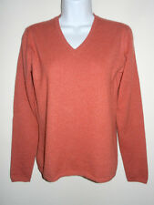 GENEVA 100% CASHMERE MEDIUM SOFT BRICK RED V-NECK LONG SLEEVES SWEATER S/M JAPAN