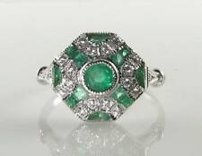 LARGE 9k 9CT WHITE GOLD COLOMBIAN EMERALD DIAMOND ART DECO INS RING FREE RESIZE