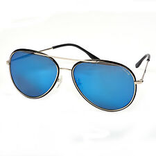Police S8299 583b Silver Frame Blue Mirror Lens Aviator Sunglasses With Case