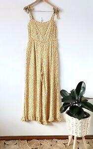 FAITHFULL THE BRAND 'Frankie' yellow daisy floral jumpsuit sz 12 | good cond