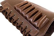 Leather Shotgun Shell Cartridge Buttstock Holder Cheek Rest Padded 12 ga Brown