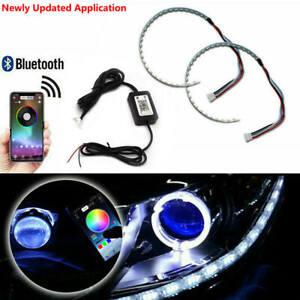 Demon Eyes Headlights Halo Ring Bluetooth Remote RGB LED Retrofit Projector Len