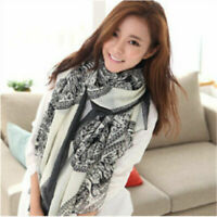 Women Fashion Shawl Stole Scarves Pretty Long Soft Satin Printing Scarf Wrap