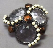 STUNNING Schreiner Bool Piece Huge Crystal Brooch w/Faux Pearls & Bronze Stones!
