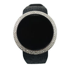 Touch Screen Sports Smart Watch Techno Pave Iced Out Black on Silver Digital  Ru
