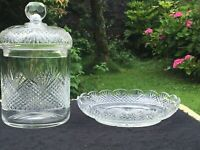 Antique Cut Crystal Glass Biscuit Cookie Jar Barrel quality  +  matching dish