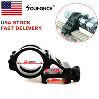 """US 45° offset 1"""" Ring 20mm Picatinny Rail Scope Mount For laser Sight Torch Alum"""