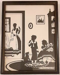 1916 NORMAN ROCKWELL PRINT - SILHOUETTE BATH TIME SATURDAY NIGHT (5x7In)