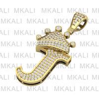 "1 Ct Diamond Round Cut Initial ""J"" King Crown Pendant 14k Yellow Gold Finish"