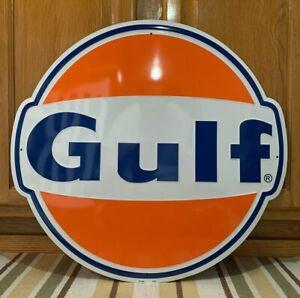 Gulf Gasoline Metal Sign Garage Vintage Style Wall Decor Tools Oil Bar Pub