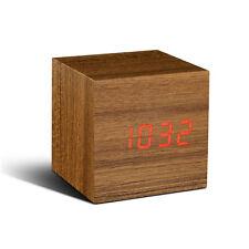 Gingko Cube Design reloj Sound sensor nuevo/en el embalaje original alarma despertador click Clock Teak rojo