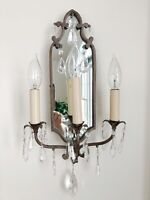Mirror Wall Sconces Glass Prisms Electric Gold/Bronze Tone Metal 3 Lights AS IS