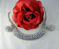 Vintage Blue & White Rhinestone  Silver tone Necklace & Earrings Set CAT RESCUE