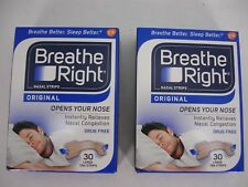 NEW BREATH RIGHT NASAL STRIPS ORIGINAL TAN 2 PACK OF 30 EA LARGE STRIPS