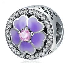 Fashion European Flower Charm Crystal Spacer Beads Fit Necklace Bracelet diy