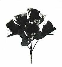 5 Black Soft Touch Roses Buds Silk Wedding Flowers Bouquets Centerpieces Gothic