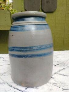 Antique Pennsylvania Stoneware Striped Crock