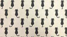 Linen Black Cats Curtain Craft Designer Linen Look Fabric