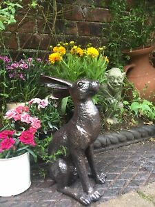 Alert Hare Rabbit Home Or Garden Ornament Statue New Bronze Effect Hand finished