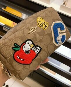 NWT Coach X Peanuts Small Boxy Cosmetic Case In Signature Canvas With Varsity Pa