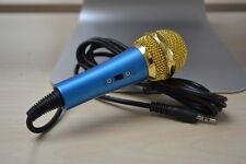 Bleu 3.5 mm microphone microphone de bureau pour PC Ordinateur Portable Karaoke
