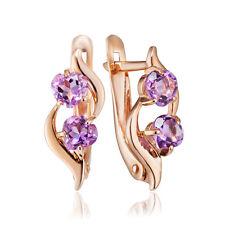 Neu Russische goldene Ohrringe mit amethyst 585 14K Russian jewelry gold earring