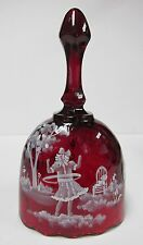 1774S6 - Fenton 6'' Oval Bell * Mary Gregory Style on Ruby Art Glass * HP * NIB