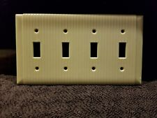 1 Bryant Ribbed Ivory Bakelite 4 Gang Switch Plate Cover Art Deco