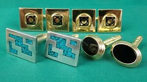 4 x cufflinks sets, 2 x sets of 9ct Gold, 1 x set of Sterling Silver