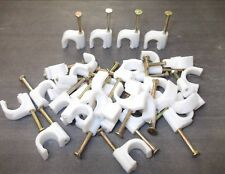 Round cable clips. 8mm. White. With fixing nail. Pack of 40. *Top Quality!