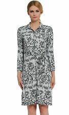 Verlina Women's Black & White Floral Collar Button-Up Work Dress with Waist Belt