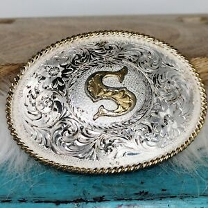 Montana Silversmiths Belt Buckle w/ Letter S Silver Plate Gold Twisted Rope Trim