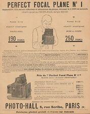 Y9641 Appareils photographiques PERFECT FOCAL PLANE n. 1 - Pubblicità - 1906 Ad